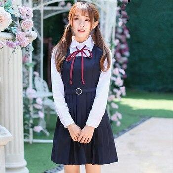 acb7d8674 Vestido de niña de la escuela uniforme de Escuela Japonesa coreana uniforme  niña corto manga larga estilo japonés chica mujeres