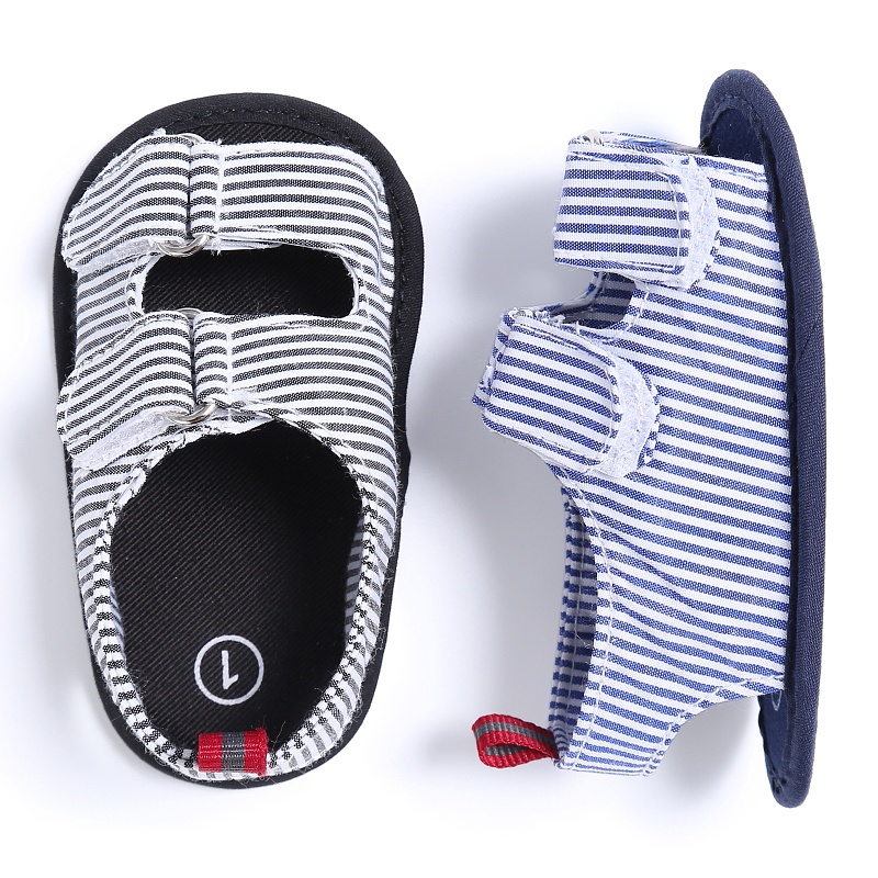Summer Holiday Beach Toddler Baby Boys Breathable Anti Slip Crib Stripe Shoes Kids Shoes Prewalkers Sandals