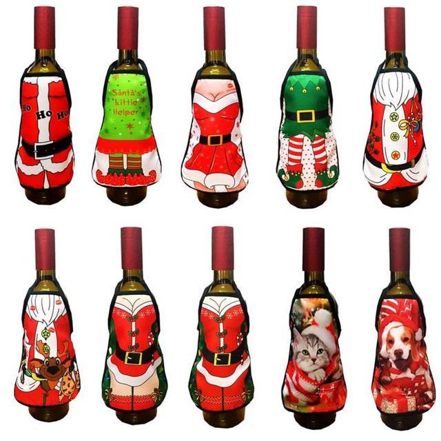 Mini Wine Bottle Apron Cover Birthday Wedding Anniversary Christmas ...