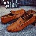 3 Cores Quentes Dos Homens Mocassins Sapatos Nova Marca de Moda Respirável Dos Homens de Couro Macio Sapatos Casuais Mocassins Condução Deslizamento em Apartamento