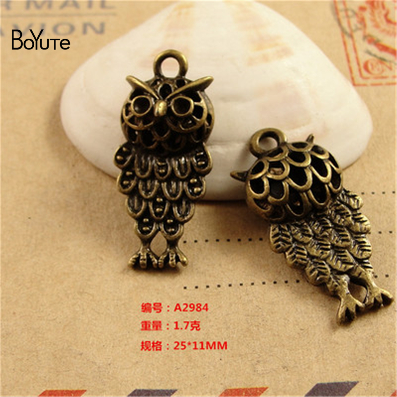 BoYuTe (20 Pieces/Lot) 25*11MM Antique Bronze Plated Zinc Alloy Hollow Pendant Owl Charms for Jewelry Accessores Diy Handmade