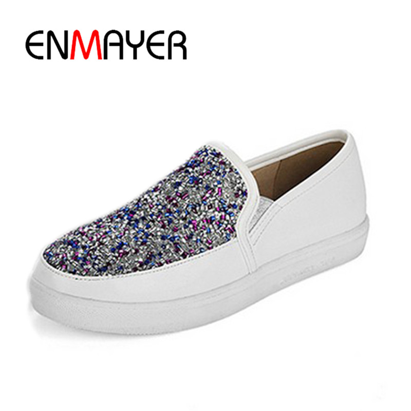 ENMAYER Mixed Colors Slip on Flats Shoes Woman Spring&Antumn Med Heels Round Toe Size34-43 Casual Shallow Shoes Free Shipping enmayer pointed toe summer shallow flats slip on luxury brand shoes women plus size 35 46 beige black flats shoe womens