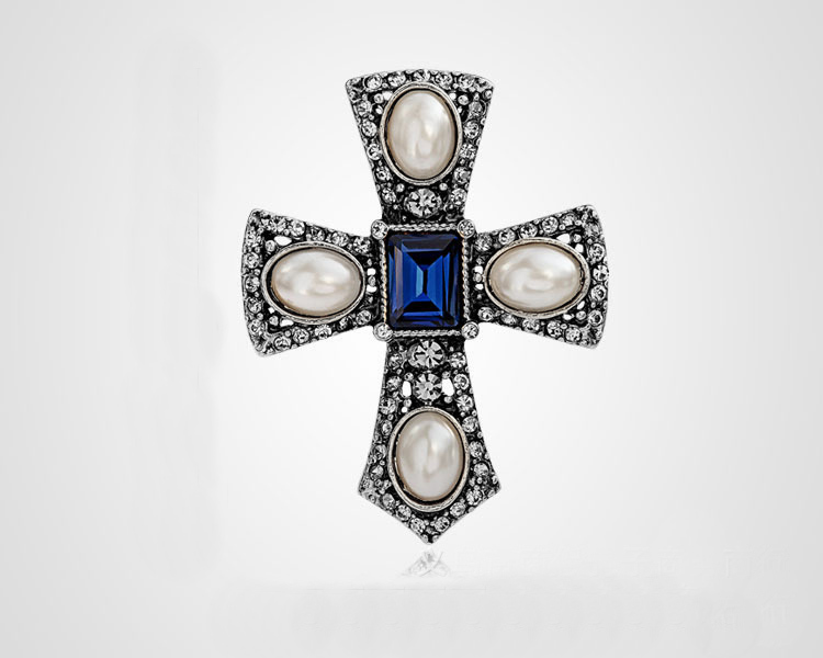 New Design Hot Fashion Imitation Pearl Rhinestone Cross Brooch Jewelry Vintage Brooches for Women Clothes Accessories