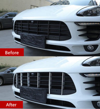 цена на Front Grille Trim Strips 6pcs For Porsche Macan 2014-17 Stainless Steel Car Styling Bumper Decoration Decals