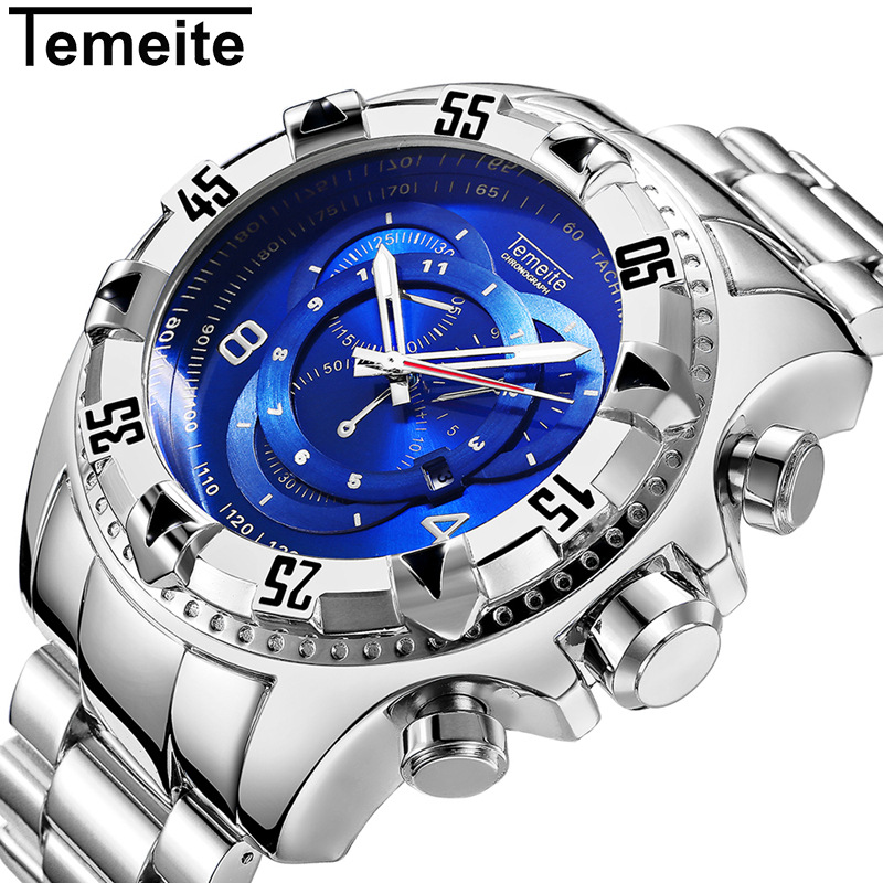 Temeite Sport Watch Men Top Brand Luxury Quartz Wrist Watches For Men Big Dial Stainless Steel Male Clock Relogio Masculino недорго, оригинальная цена