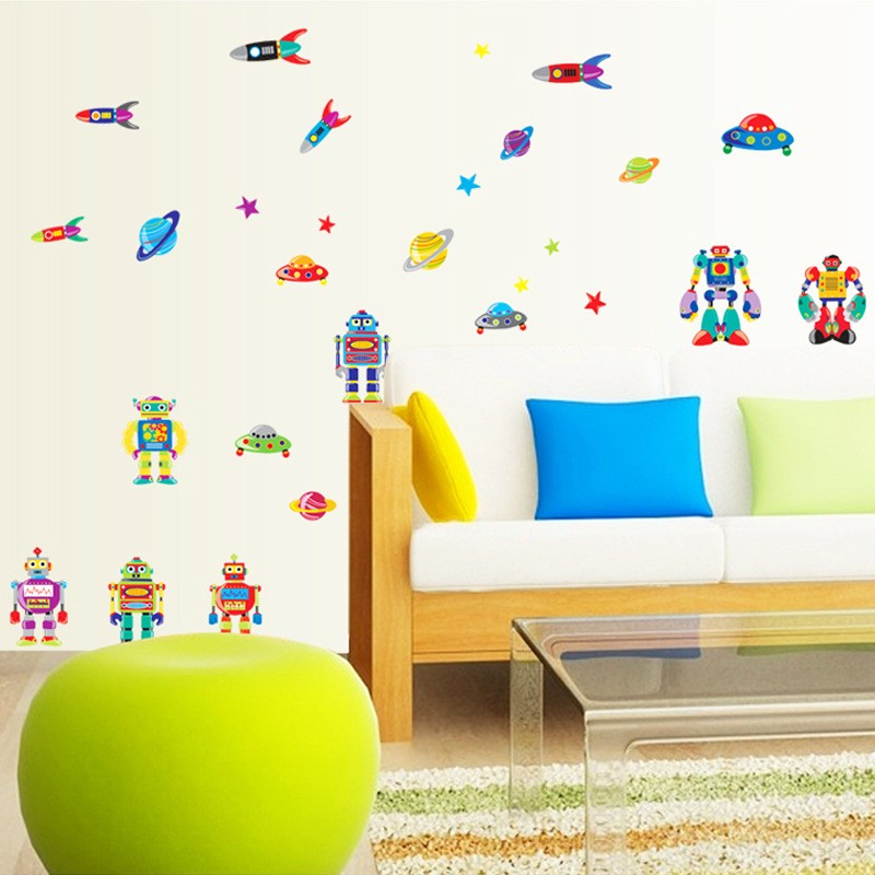 New Cartoon Universe Space Planet Spacecraft Wall Stickers Rocket Boys Baby  Kids Rooms Living Room