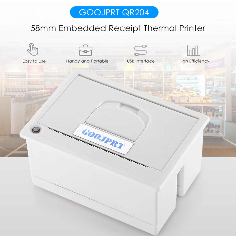 Goojprt QR204 58 Mm Portabel Super Mini Tertanam Kebisingan Rendah Penerimaan Termal Printer Opsional USB Port Yang Berbeda Printer Thermal