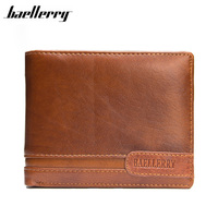 BAELLERRY Genuine Leather Men Wallets Short Brown Purse Vintage Male Hand Bags Small Money Clutch Card