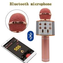 WS-858 KTV Jogador Karaoke Microfone de Mão Sem Fio Bluetooth USB Bluetooth Speaker Mic Gravar Música