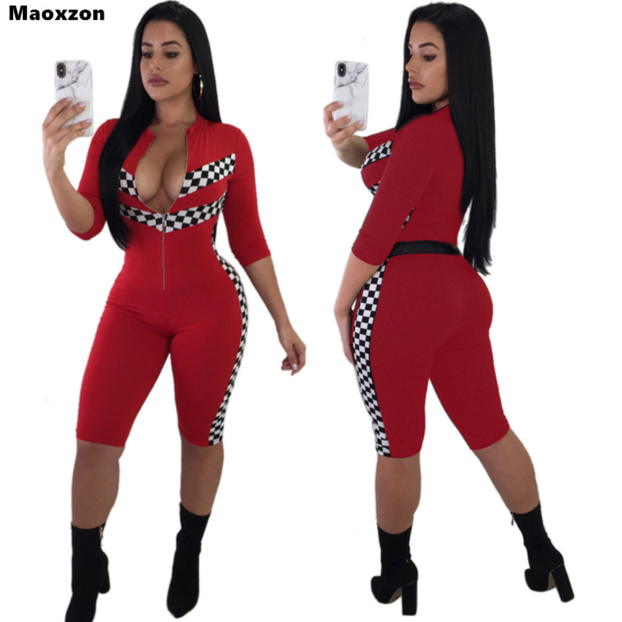 Maoxzon Sexy Skinny Rompers Womens Jumpsuits Red Plaid Summer Fashion Fitness Workout Short One Piece Pants Playsuits Plus Size