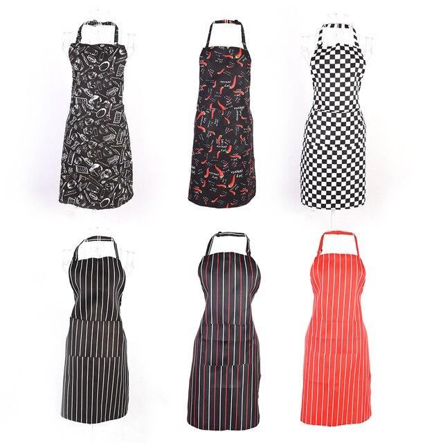 1pc adjustable stripe bib apron chef waiter kitchen cook kitchen apron with 2 pockets tool polyester - Kitchen Apron