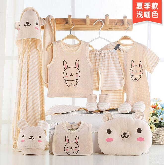 Newborn gift sets thin section of organic cotton infant clothes newborn baby supplies Seasons 13 sets