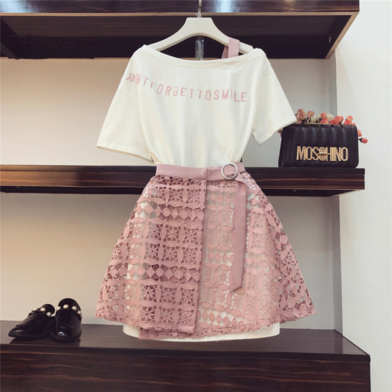 2019 Spring Summer Women Fashion 2 Piece Suit Slash Collar Off Shoulder Long T Shirt & Hollow Out Lace Skirt Suits Skirts Set #1