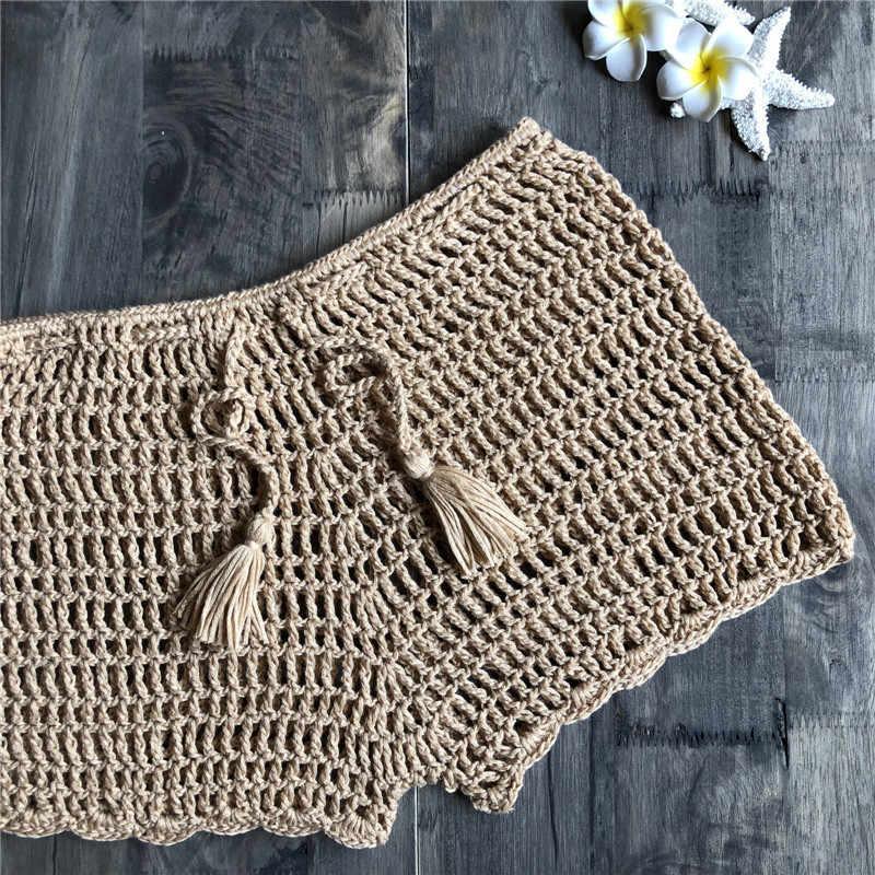 c6cadf49b3 ... Hollow Swimsuit shorts crocheted see through swimsuit cover ups 2018  new sexy women bikini swimwear cover