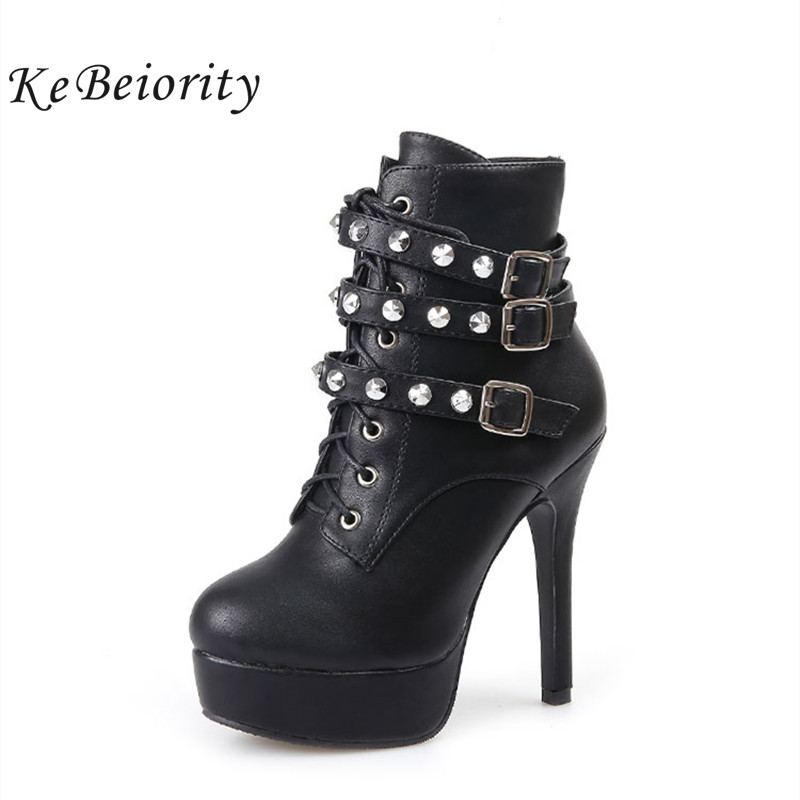 KEBEIORITY Fashion High Heels Women Boots with Buckle Platfo