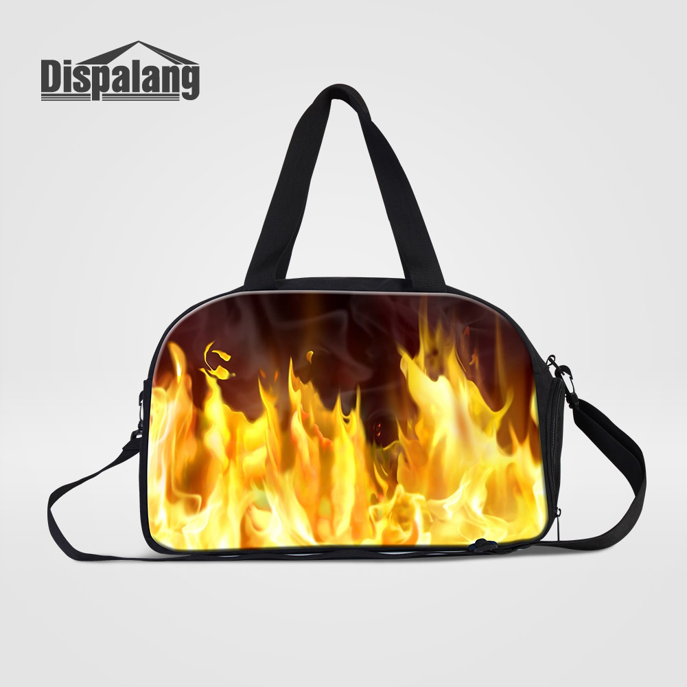 Dispalang Medium Capacity Travel Bags 3D Printing Fire Flame Mens Hand Clothes Duffel Bag Male Shoulder Overnight Messenger Bags