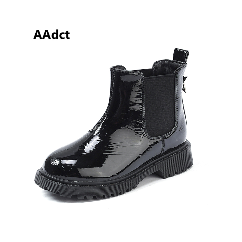 AAdct Princess fashion short boots for girls Patent leather children boots 2018 New Brand kids boots winter cotton warm aadct cotton warm children snow boots for glitter girls new fashion shinning short girls boots 2018 winter kids boots