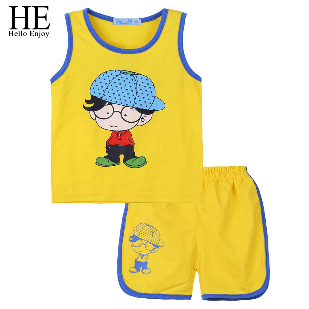 HE Hello Enjoy Toddler Boy Clothes Cartoon Yellow Sleeveless Vest+Shorts Sports Suits Kids Clothing Sets Costume 1-3Year