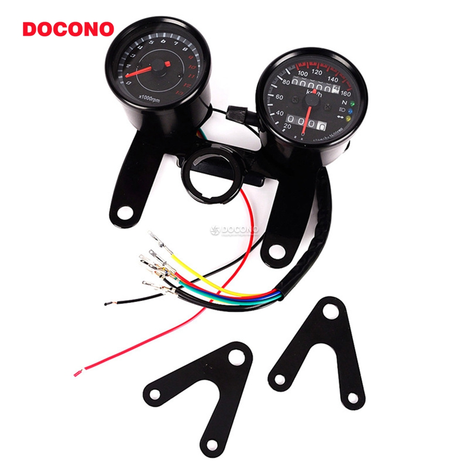 DOCONO double motorcycle speedometer Tachometer with Bracket LED motorbike Odometer set unviersal Mechanical transfer table old school motorcycle gauges