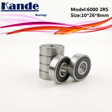 купить 6000RS Bearing 10pcs ABEC-5 High quality  6000 2RS Single Row Deep Groove ball bearing  6000-2RS 10*26*8mm по цене 564.69 рублей