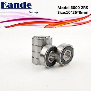 6000RS Bearing 10pcs ABEC-5 High quality 6000 2RS Single Row Deep Groove ball bearing 6000-2RS 10*26*8mm