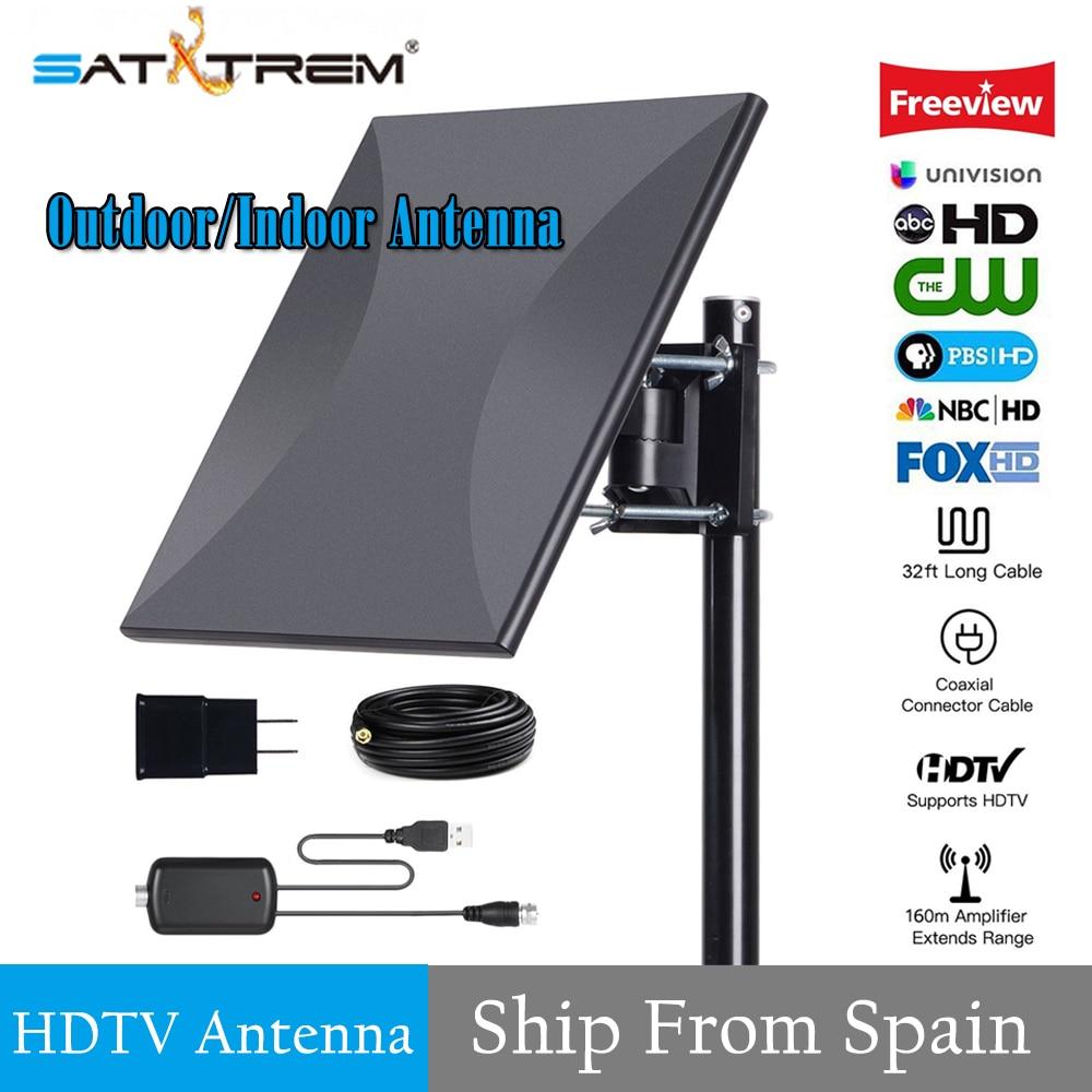 SATXTREM 160 miles antenne 4 K TV extérieure avec amplificateur amplificateur de Signal pour les canaux VHF/UHF avec câble coaxial 32.8ft antenne HDTV