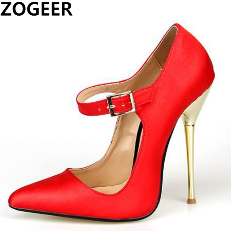 Plus Size 48 Pointed Toe Sexy High Heels Ankle Straps Women Pumps 14cm Women Office Party