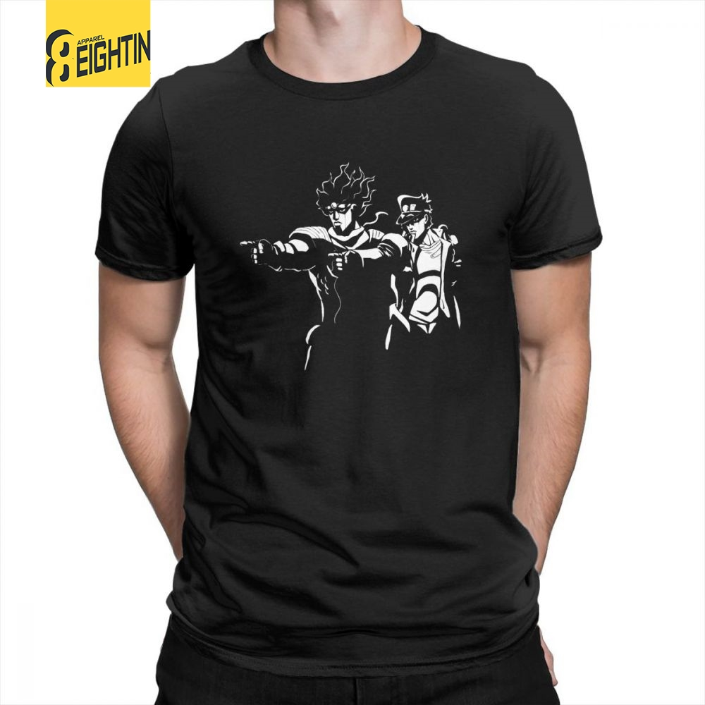 JoJo Bizarre Adventure Stand Fiction Tee   Shirt   Vintage   T  -  Shirts   New Short-Sleeve Crewneck Purified Cotton Cozy Men's   T     Shirts