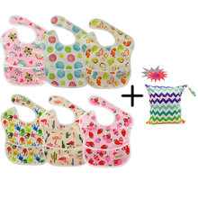 Ohbabyka Baby Pocket SuperBib Waterproof Bibs Feeding Clothes Baby Accessories Animal Print Eatings Baby Bibs 6pcs+1Free Bag ohbabyka baby superbib waterproof baby bib washable stain and odor resistant feeding clothes baby shower gift