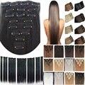 """O envio gratuito de 24 """"(60 cm) 7 pcs set 115g-125g 17 cores Reta Longa Cabelo sintético Grampo em extensões do cabelo"""
