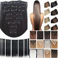"free shipping 24""(60cm)7pcs set 115g-125g 17 colors Long Straight Synthetic Hair Clip in on hair extensions"