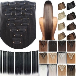 Free shipping 24 60cm 7pcs set 115g 125g 17 colors long straight synthetic hair clip in.jpg 250x250
