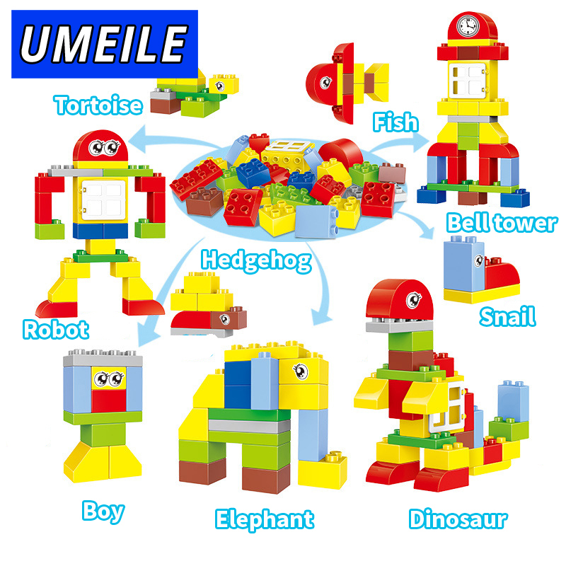 UMEILE Brand 29 PCS Change Assembied Zoo Anmimal Robot Giraffe Building Block Diy Classic Brick Kids Toys Compatible with Duplo