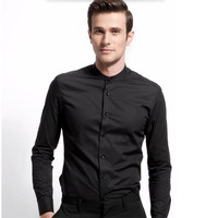 New style high quality Men's Shirts Long Sleeve Male Casual Business Shirts dress shirt for man formal occasion groom suit