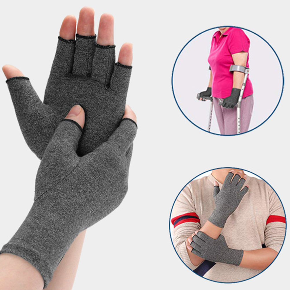 Man Women Solid Elastic Hand Protective Arthritis Gloves Pain Relief Health Black Half Finger Breathable Compression Rheumatoid in Wrist Support from Sports Entertainment
