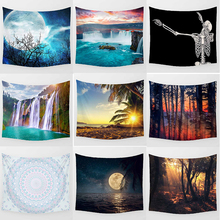 Hot sale fashion sunset  sea beach landscape  skull  moon  pattern  wall hanging tapestry rectangle large wall tapestry