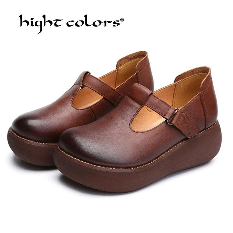 Spring New 2019 Women's Fashion Pumps Shoes Woman Genuine Leather Wedge Single Casual Shoes Mother High Heels Shoes 183 11-in Women's Pumps from Shoes    1