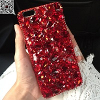 For iPhone 5s 6s Plus 7 8 Plus Bling Shiny Girl Lady Style Handmad DIY Full Pink Color Crystal Diamond Phone Case For iPhone x 8