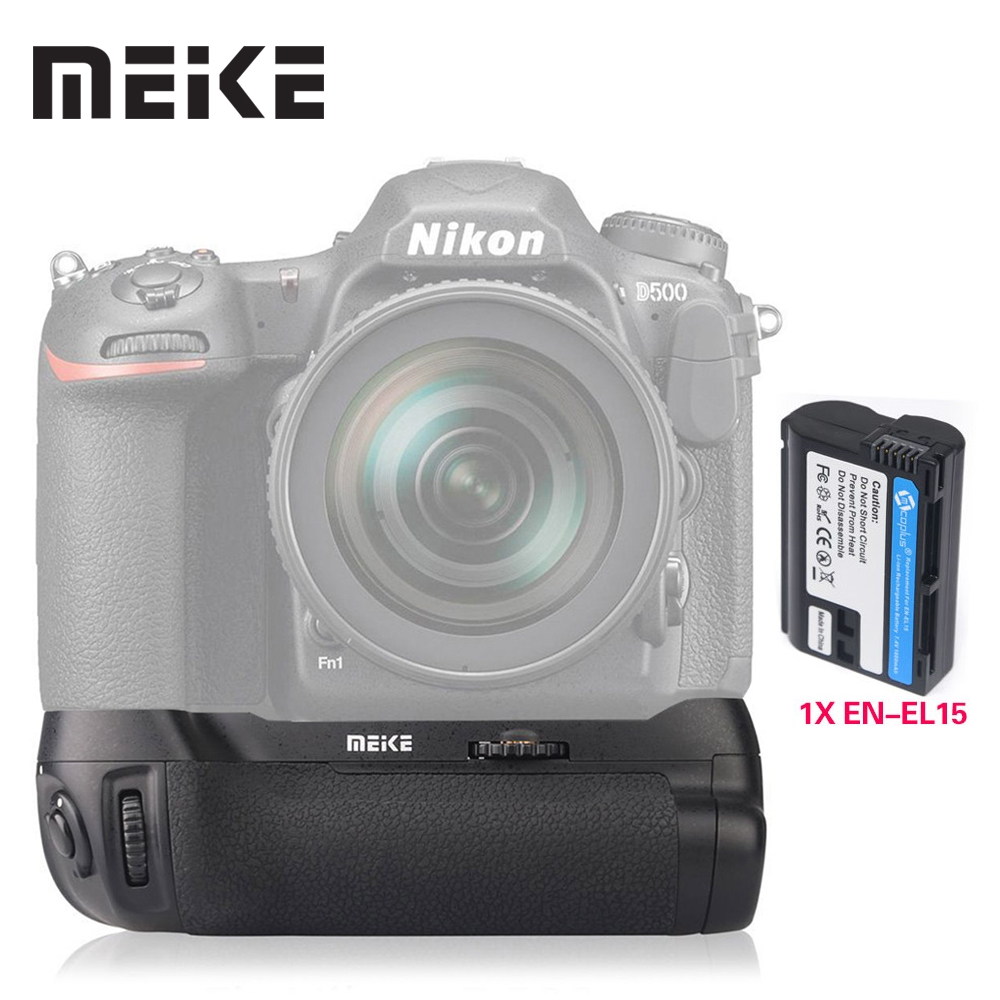 Meike  MK-D500 Professional  Vertical Battery Grip with EN-EL15 Battery for Nikon D500 as MB-D17 meike vertical battery pack grip for nikon d5300 d3300 2 en el14 dual charger