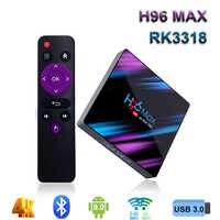 H96 MAX Smart TV Box 9.0 Rockchip RK3318 32 GB/64 GB di Android tv box 2.4/5.0G wiFi Bluetooth 4.0 4 K 3D iptv box Android
