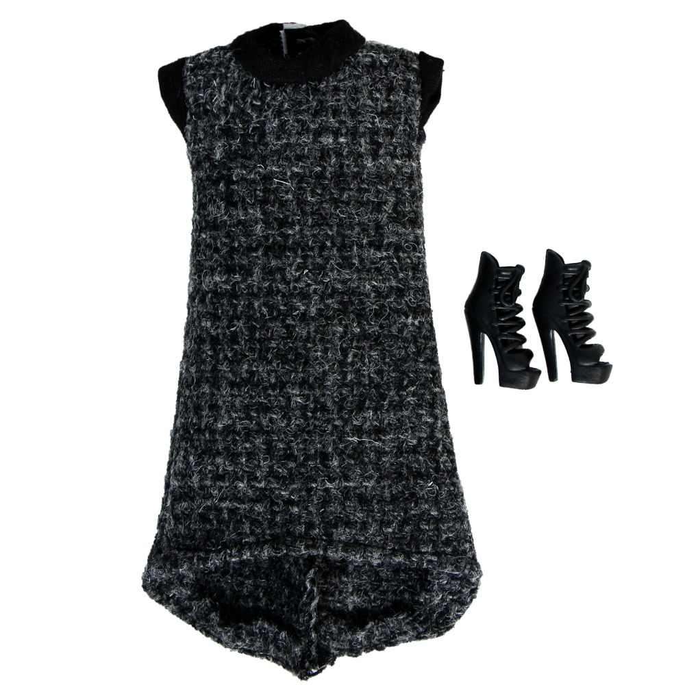 ... Fashion Black Dress Dinner Party Gown With Black High Heel Shoes Accessories  Clothes For Barbie Doll ... b09103162e38