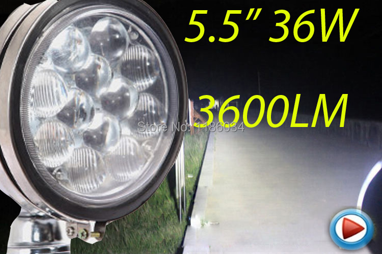 Free ship!5.5inch 36W 10~30V LED working light,1pcs/set,Black color,3600LM,6500K,Boat,Bridge,Truck,Offroad car,Harvester
