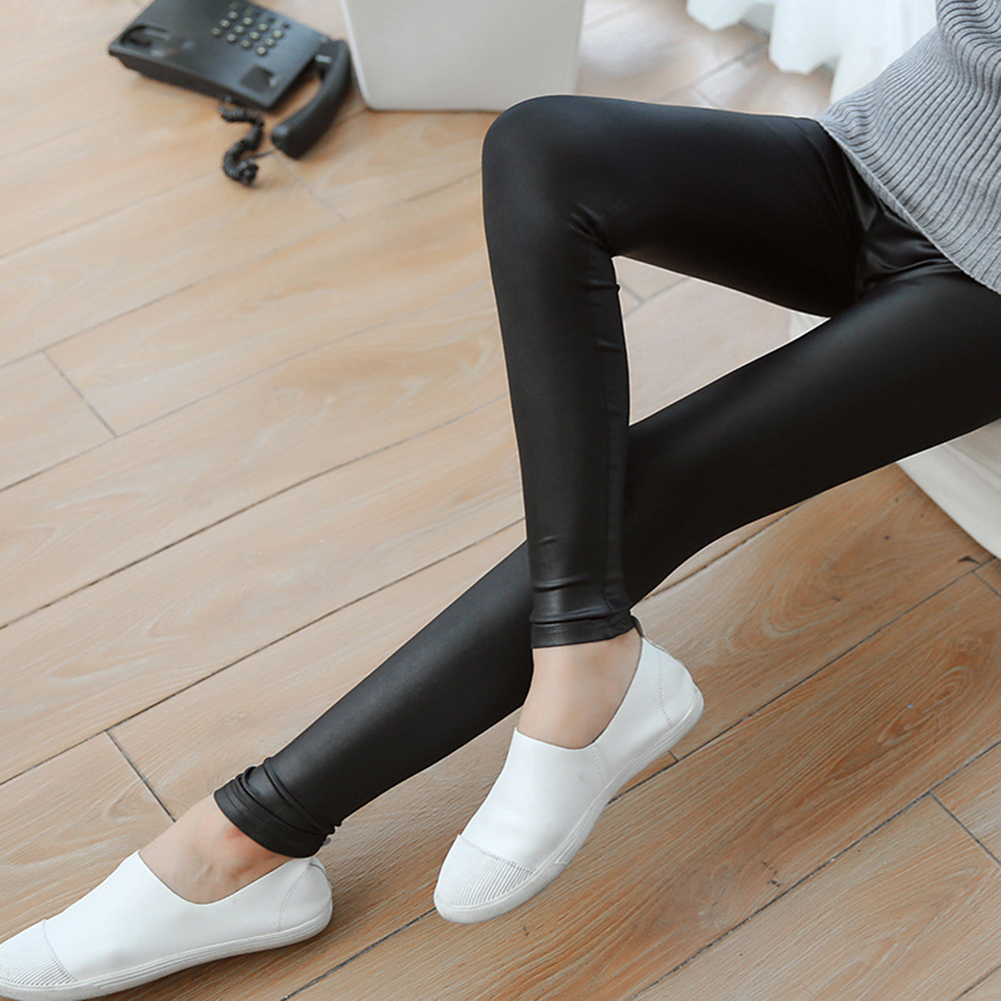 Women Skinny Faux Leather Stretchy Pants Tight Trousers Fashion Women Autumn Office Lady High Waist Trousers 2