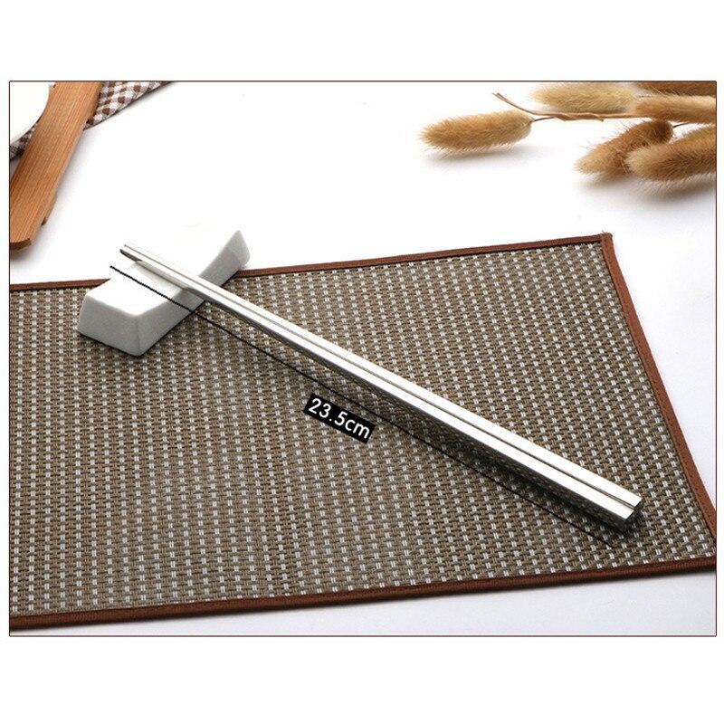 Stainless Steel Square Chopsticks Household Anti-skid Adult Iron Fast Tableware Kitchen Metal Chop Restaurant Tableware