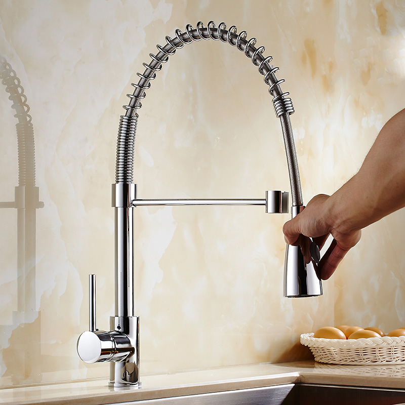 Free Shipping Brass kitchen faucets hot and cold water tap chrome kitchen sink faucet taps mixer with pull down shower head black chrome kitchen faucet pull out sink faucets mixer cold and hot kitchen tap single hole water tap torneira