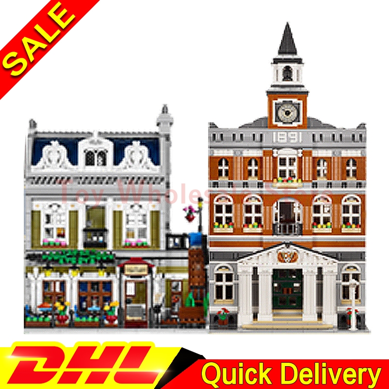 Lepin 15003 town hall + Lepin 15010 Parisian Restaurant City Street Model Building Blocks Bricks lepins Toy Clone 10224 10243 dhl new 2418pcs lepin 15010 city street parisian restaurant model building blocks bricks intelligence toys compatible with 10243