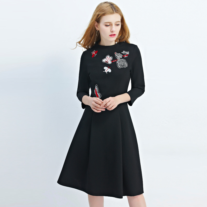 Large Size Autumn Fashion Embroidery Round Neck Collar Dresses Oversized Long Sleeve Black Aline Dress Female 2017 In From Women S Clothing