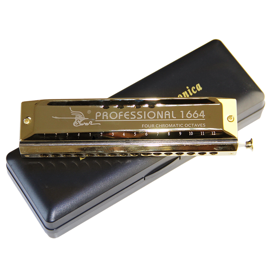 Swan 16 hole 64 tone Chromatic Harmonica, Golden,Laser Print Free shipping swan chromatic harmonica 16 hole 64tune golden professional harp instrumentos chromatic square mouthpiece thicken the cover
