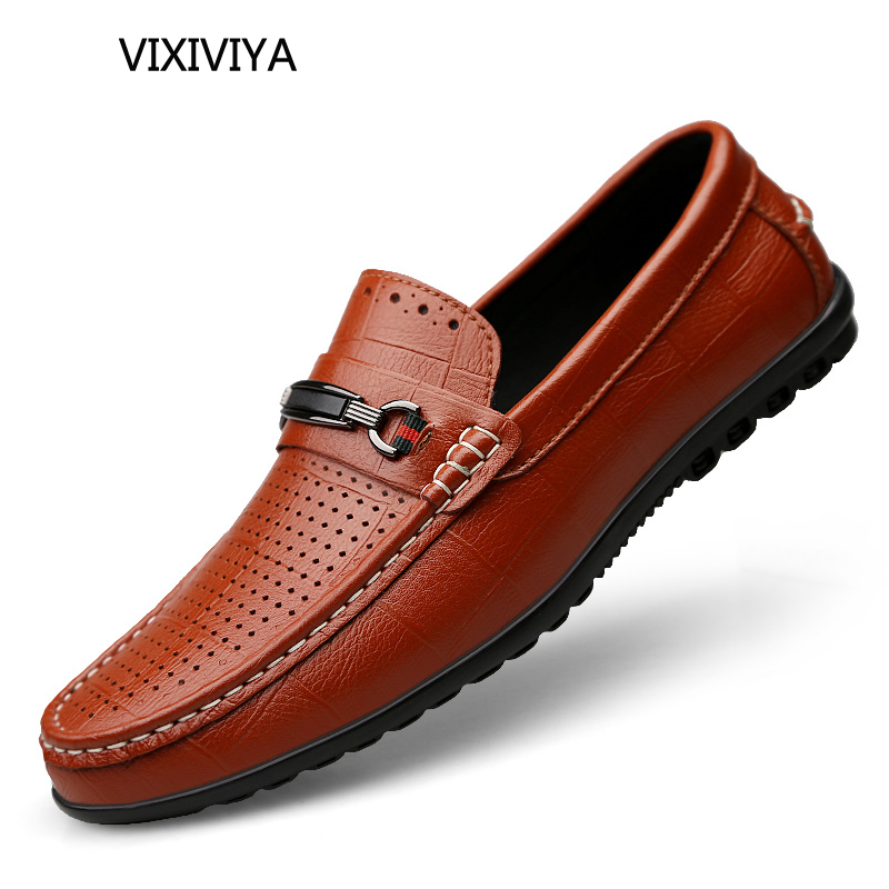 Men's casual shoes breathable loafers man shoes leather genuine youth fashion shoe driving platform shoes for men big size 12 audorci 2018 spring fashion genuine leather men shoes man board shoe men casual breathable flats shoes size 38 44