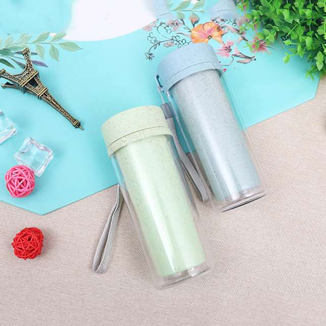 Straw wheat incense double layer PP plastic hand Water Bottles creative kitchen bar table supplies insulation Water Bottle 3